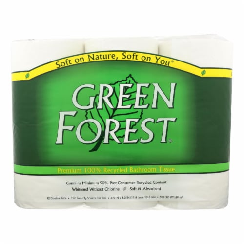 Green Forest Bathroom Tissue - Double Roll 2 Ply - Case of 4 - 12 Perspective: front