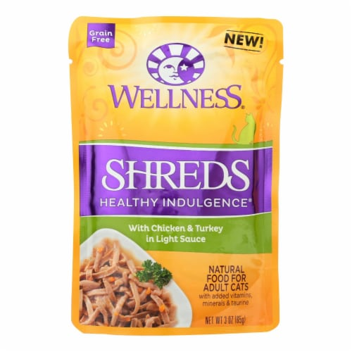 Wellness Pet Products Cat Food - Shreds Chicken and Turkey - Case of 24 - 3 oz. Perspective: front