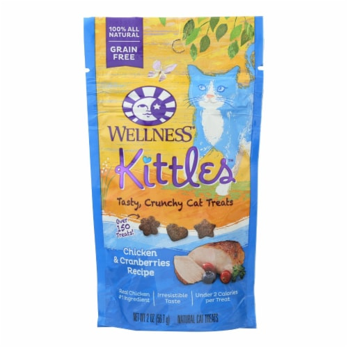 Wellness Pet Products Cat Treat - Kittles - Chicken & Cranberries - Case of 14 - 2 oz Perspective: front