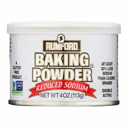 Rumford Baking Powder - Reduced Sodium - Case of 24 - 4 oz. Perspective: front