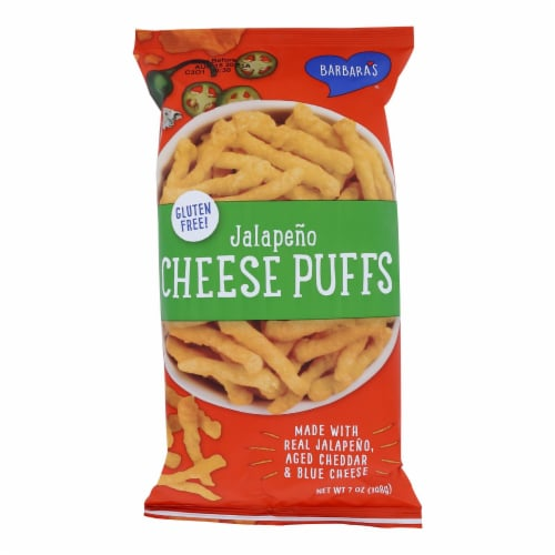 Barbara's Bakery - Cheese Puffs - Jalapeno - Case of 12 - 7 oz. Perspective: front