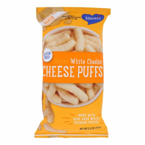 Barbara's Bakery - Baked White Cheddar Cheese Puffs - Case of 12 - 5.5 oz. Perspective: front