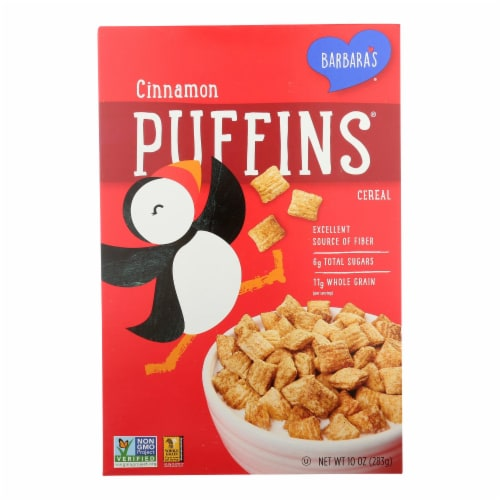 Barbara's Bakery - Puffins Cereal - Cinnamon - Case of 12 - 10 oz. Perspective: front