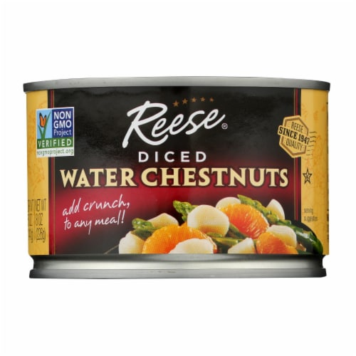 Reese Water Chestnuts - Diced - Case of 24 - 8 oz Perspective: front