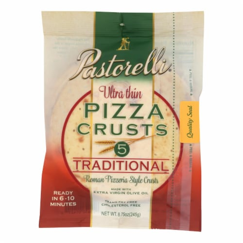 Pastorelli Pizza Crust - Ultra Thin - White - Case of 10 - 8.75 oz Perspective: front