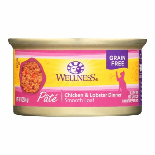 Wellness Pet Products Cat Food - Chicken and Lobster - Case of 24 - 3 oz. Perspective: front