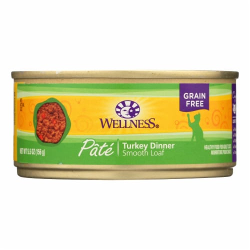 Wellness Pet Products Cat Food - Turkey Recipe - Case of 24 - 5.5 oz. Perspective: front
