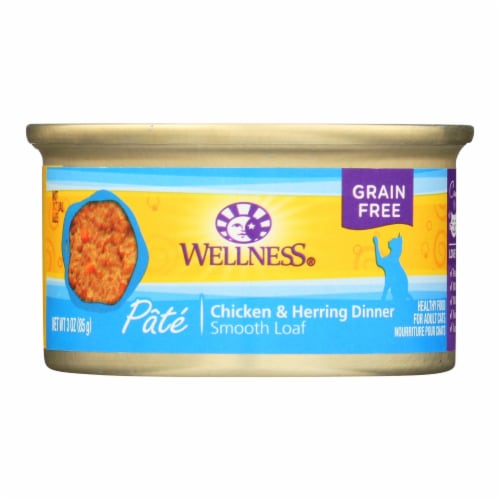 Wellness Pet Products Cat Food - Chicken and Herring - Case of 24 - 3 oz. Perspective: front