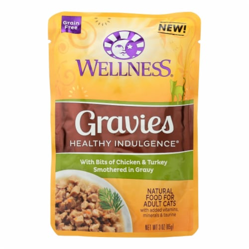 Wellness Cat Food-Gravies with Bits of Chicken and Turkey Smothered In Gravy-Case of 24-3 oz Perspective: front