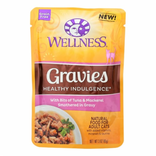 Wellness Cat Food-Gravies with Bits of Tuna and Mackerel Smothered In Gravy-Case of 24-3 oz Perspective: front
