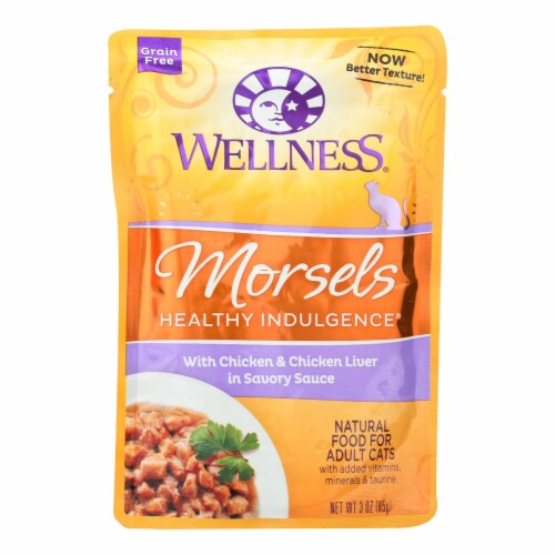 Wellness Pet Products Healthy Indulgence Morsels-Chicken n Chckn Liver Savry Sauce-24Case-3oz Perspective: front