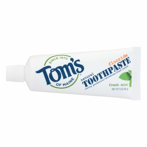 Tom's of Maine Travel Natural Toothpaste - Fresh Mint Fluoride - Case of 24 - 3 oz. Perspective: front