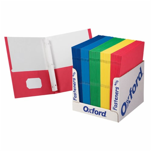 Oxford® School Grade Twin Pocket Folders with Fasteners Perspective: front