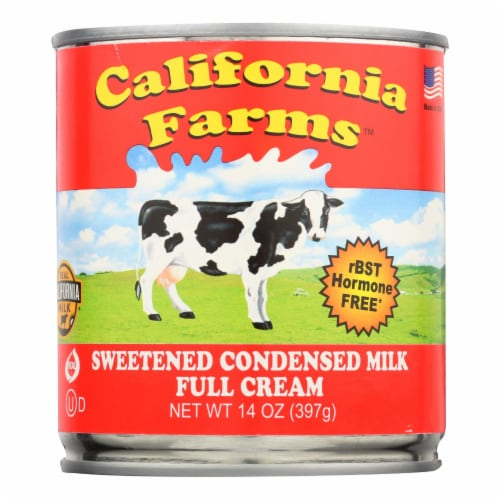 California Farms Sweetened Condensed Milk - Case of 24 - 14 Fl oz. Perspective: front