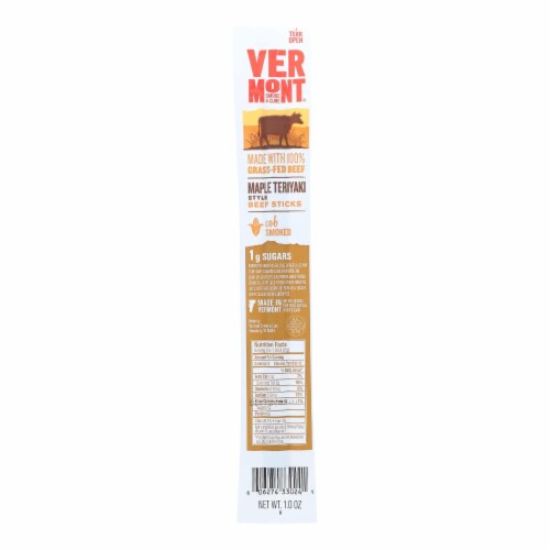Vermont Smoke And Cure Maple Teriyaki Style Beef Sticks - Case of 24 - 1 OZ Perspective: front