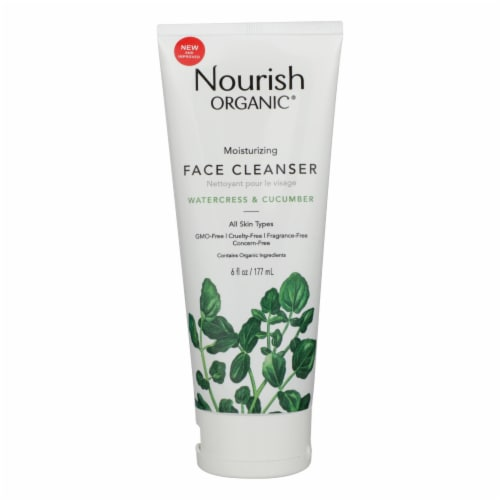 Nourish Organic Face Cleanser - Moisturizing Cream Cucumber and Watercress - 6 oz Perspective: front