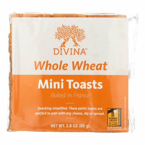 Divina - Whole Wheat Mini Toasts - Case of 24 - 2.8 oz. Perspective: front