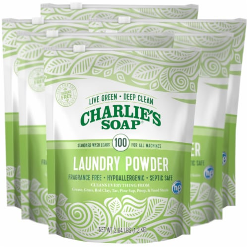 Charlies Soap Laundry Detergent - 100 Loads - Powder - 2.64 lb - case of 6 Perspective: front