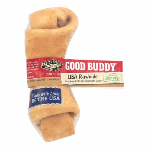 Castor and Pollux Good Buddy Rawhide Bone Dog Treat - Case of 24 Perspective: front