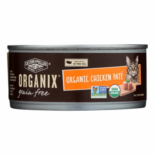 Castor and Pollux Organic Cat Food - Chicken Pate - Case of 24 - 5.5 oz. Perspective: front