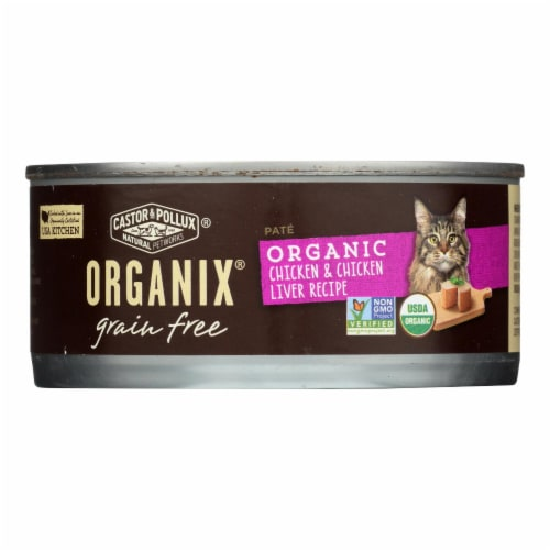 Castor and Pollux Organic Grain Free Cat Food - Chicken and Liver Pate - Case of 24 - 5.5 oz. Perspective: front