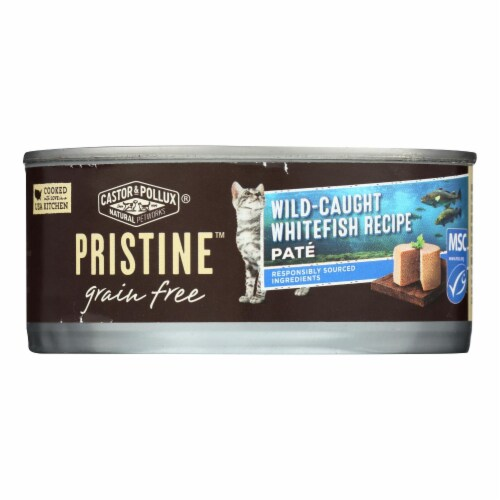 Castor and Pollux-Pristine Grain Free Wet Cat Food-Wild-Caught Whitefish Recipe-24Case-5.5oz Perspective: front