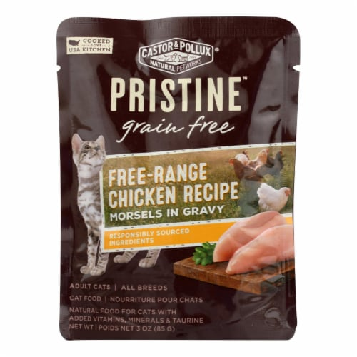 Castor and Pollux Cat - Chicken Morsels - Grain Free - Case of 24 - 3 oz Perspective: front