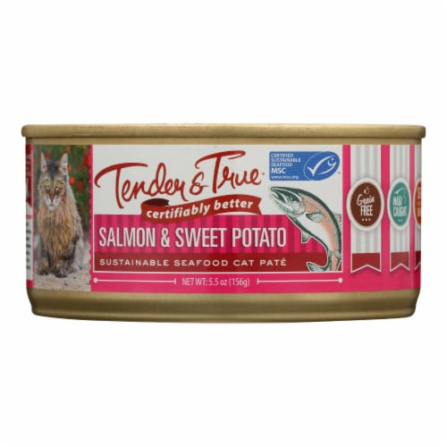 Tender & True - Cat Food Salmon&swt Pot - Case of 24 - 5.5 OZ Perspective: front