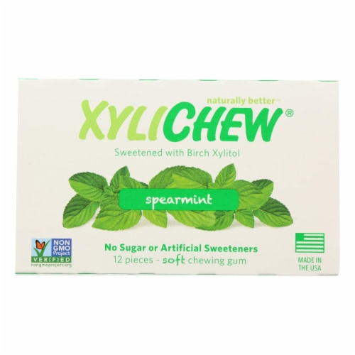 Xylichew Gum - Spearmint - Counter Display - 12 Pieces - 1 Case Perspective: front