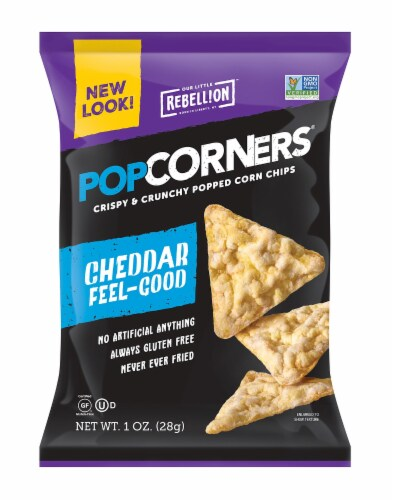 Popcorners White Cheddar Popped Corn Chips, 1 Ounce -- 40 per case Perspective: front