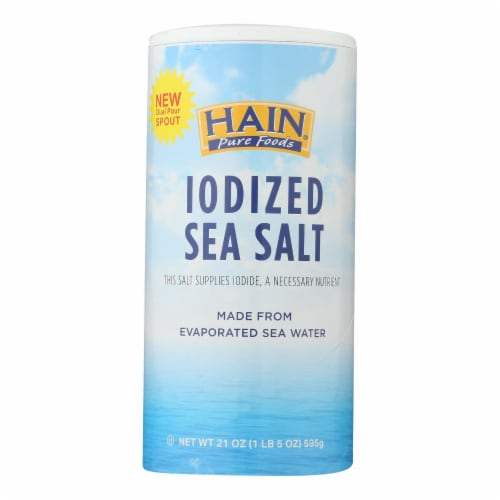 Hain Sea Salt - Iodized - Case of 8 - 21 oz Perspective: front