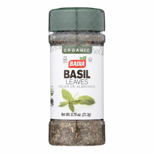 Badia Organic Basil Leaves  - Case of 8 - .75 OZ Perspective: front