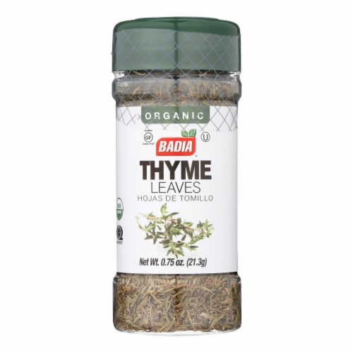 Badia Organic Thyme Leaves  - Case of 8 - .75 OZ Perspective: front