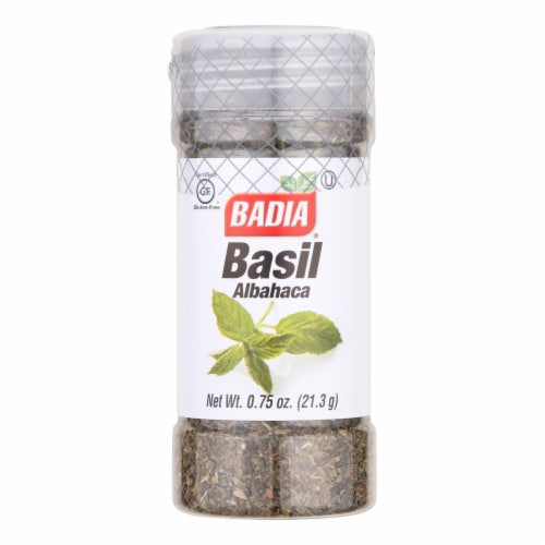 Badia Dried Basil Leaves  - Case of 8 - .75 OZ Perspective: front
