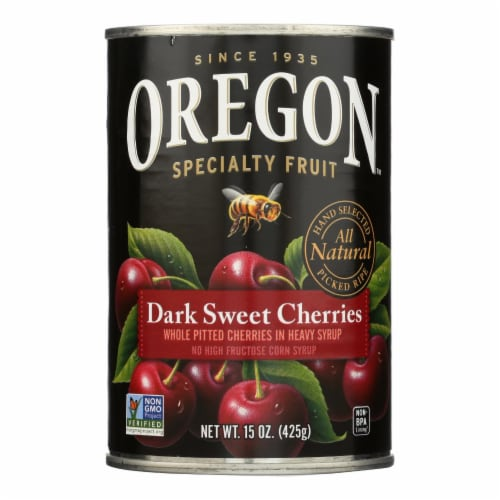 Oregon Fruit Whole Pitted Dark Sweet Cherries In Heavy Syrup - Case of 8 - 15 oz. Perspective: front