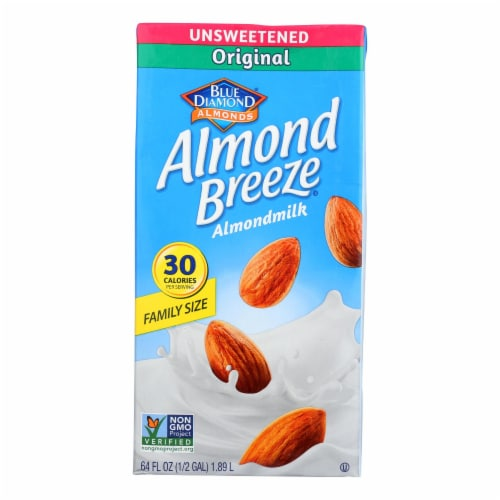 Almond Breeze - Almond Milk - Unsweetened Original - Case of 8 - 64 fl oz. Perspective: front