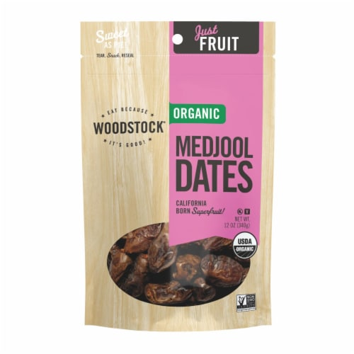 Woodstock Organic Unsweetened Medjool Dates - Case of 8 - 12 OZ Perspective: front