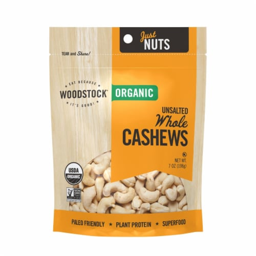 Woodstock Organic Whole Cashews, Unsalted - Case of 8 - 7 OZ Perspective: front