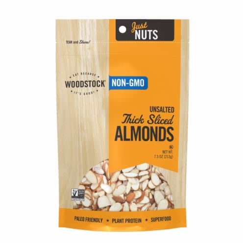 Woodstock Non-GMO Thick Sliced Almonds, Unsalted - Case of 8 - 7.5 OZ Perspective: front