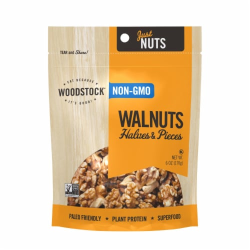 Woodstock Non-GMO Walnuts Halves and Pieces - Case of 8 - 6 OZ Perspective: front