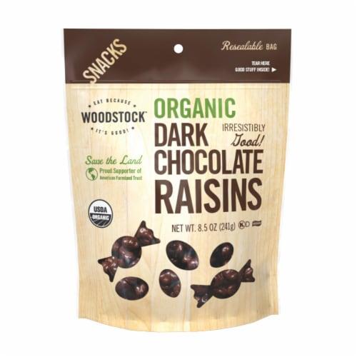 Woodstock Organic Dark Chocolate Raisins - Case of 8 - 8.5 OZ Perspective: front