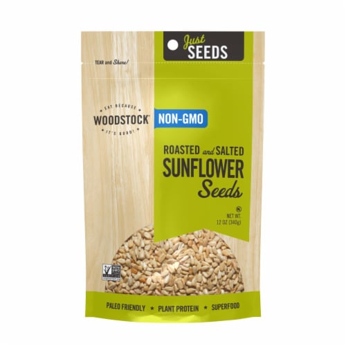 Woodstock Non-GMO Roasted and Salted Sunflower Seeds - Case of 8 - 12 OZ Perspective: front