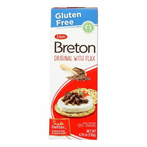 Breton/Dare - Crackers - Original with Flax - Case of 6 - 4.76 oz. Perspective: front