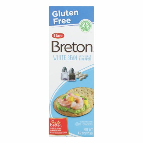 Breton/Dare - Crackers - White Bean Salt and Pepper - Case of 6 - 4.2 oz. Perspective: front