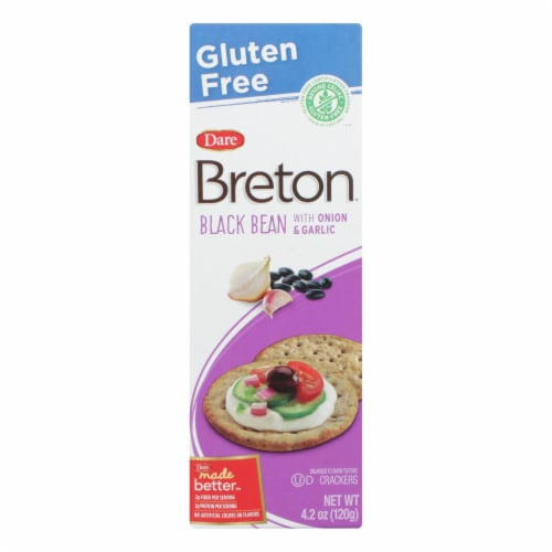 Breton/Dare - Crackers - Black Bean Onion and Garlic - Case of 6 - 4.2 oz. Perspective: front