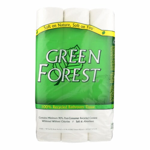 Green Forest Premium Bathroom Tissue - Unscented 2 Ply - Case of 8 - 12 Perspective: front