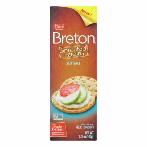 Breton/Dare - Sprouted Grain Crackers - Sea Salt - Case of 6 - 5.11 oz. Perspective: front