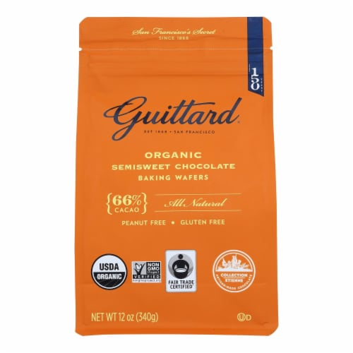 Guittard Chocolate Baking Wafers - Organic - 66% Semisweet - Case of 8 - 12 oz Perspective: front
