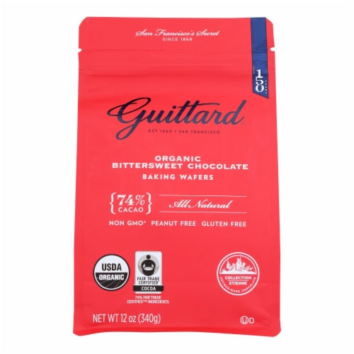 Guittard Chocolate Baking Wafers - Organic - 74% Bittersweet - Case of 8 - 12 oz Perspective: front
