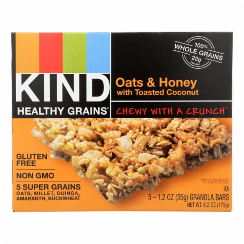 Kind Bar - Granola - Oats and Honey with Toasted Coconut - 1.2 oz - 5 Count - Case of 8 Perspective: front